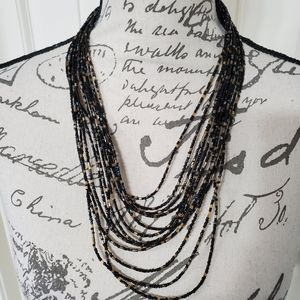 NWT Layered Black Beaded Necklace